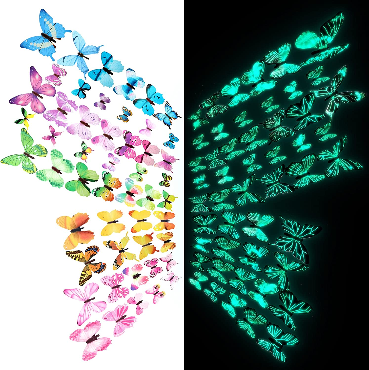 120 Pieces Butterfly Wall Decals Glow in The Dark 3D Butterfly Stickers Luminous Butterfly Wall Decor 3D Butterfly Wall Decoration for Bedroom Nursery Living Room Home Garden Decoration