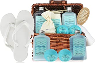Deluxe Spa Gift Basket, Bath and Body Set for Her Birthday Perfect Set for Women, Men & Teens. All-Natural Home Spa Treat Gift Basket (Cool Water Basket Spa Kit)
