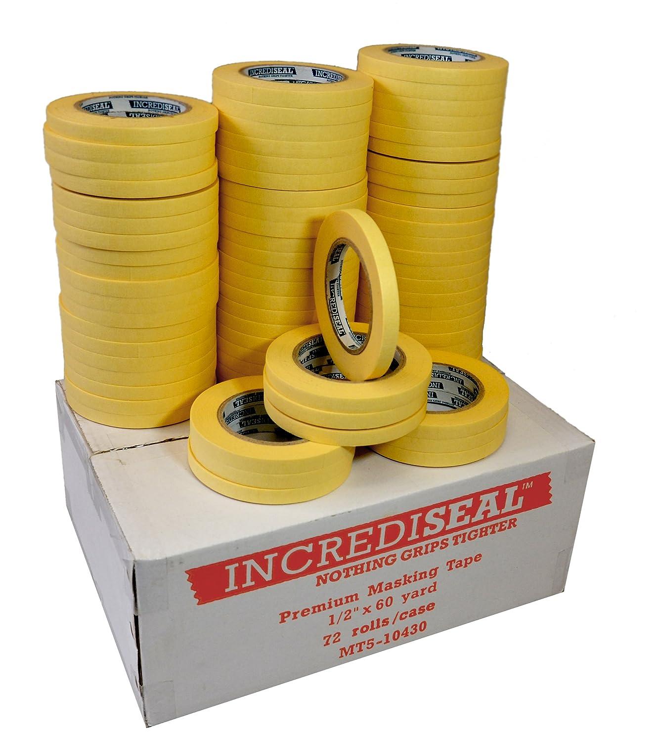 INCREDISEAL 72 Rolls High Tack Tape, 0.5 Inch x 60 Yards x 4.3 Mil - Crepe / Natural