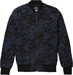 Brave Soul Mens Bono Geometric Quilted Camo Print Bomber Jacket