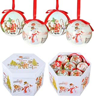 YILEEY Bolas de Navidad Hechas a Mano 14 pcs - Ø 7.5 cm Caja de Regalo de Bolas Arbol de Navidad con Percha Adornos Arbol ...
