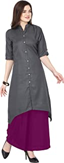 Florence Grey Slub Cotton Embellished Stitched Kurtis with Palazzo(FL-KT-130-PZ-17)