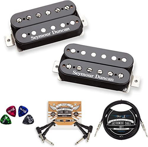 wholesale Seymour online Duncan SH-4 and SH-2N Hot Rodded Humbucker Pickup Set (Neck and Bridge) Bundle with Blucoil 10-FT Straight Instrument Cable (1/4in), 2x Patch Cables, and 4-Pack of Celluloid wholesale Guitar Picks outlet online sale