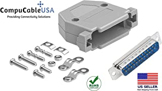 CompuCablePlusUSA Best DB25 Male Solder Cup Connector Kit With Plastic Hood Best Complete DB25 Male Solder Type set Fix/Make/Assembly your own DB25 Cable