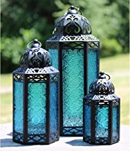 Moroccan Style Candle Lanterns, Blue Glass, Set of 3