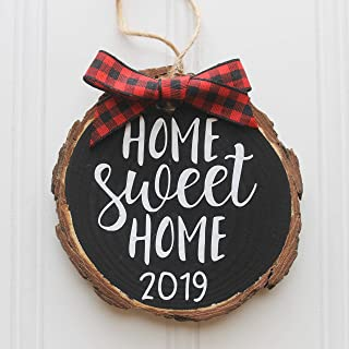 Home Sweet Home 2019 Wood Slice Christmas Ornament (Gift Box Included) Black w/Red Buffalo Check Bow