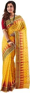 SareesofBengal Women's Jamdani Handloom Cotton Tangail Bengal Tant Saree Yellow