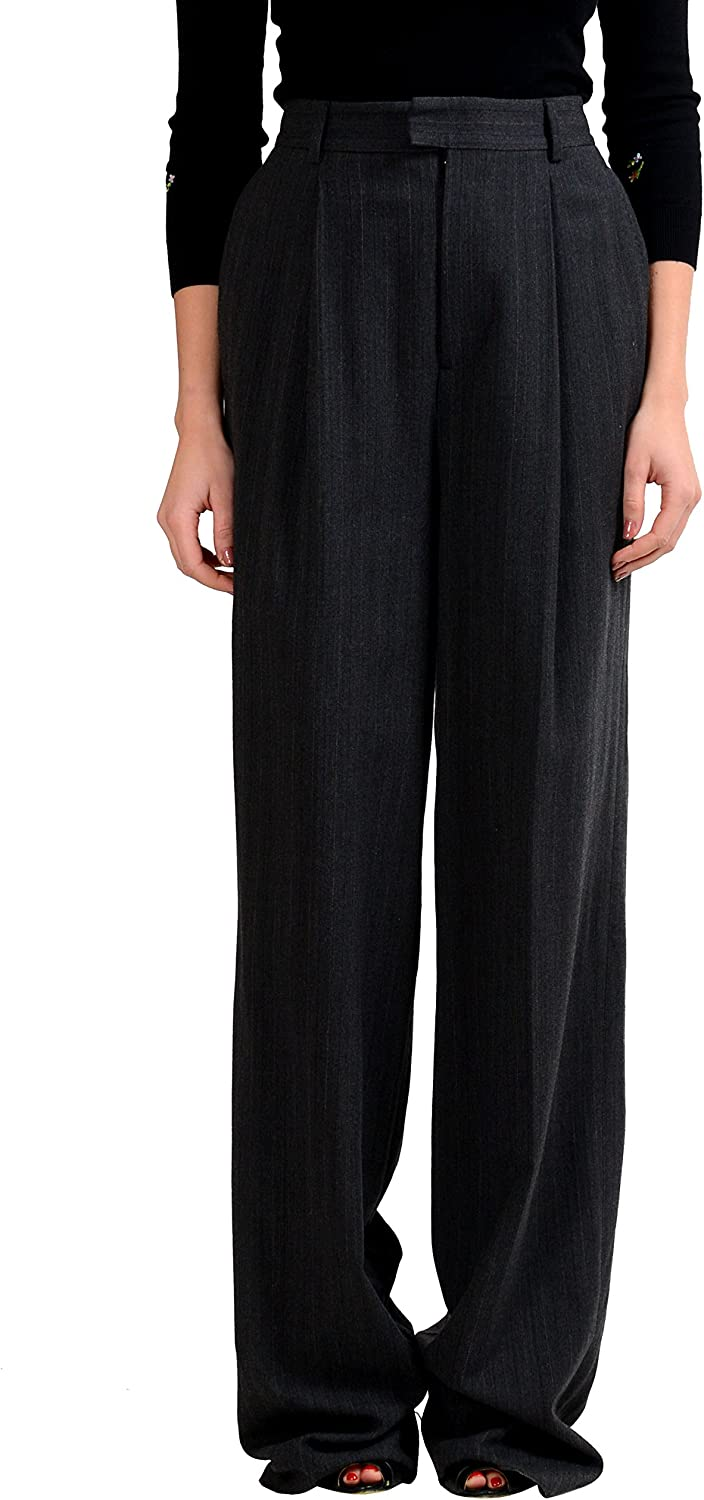 DSQUARED2 Wool Gray Striped Women's Casual Pants US S IT 40