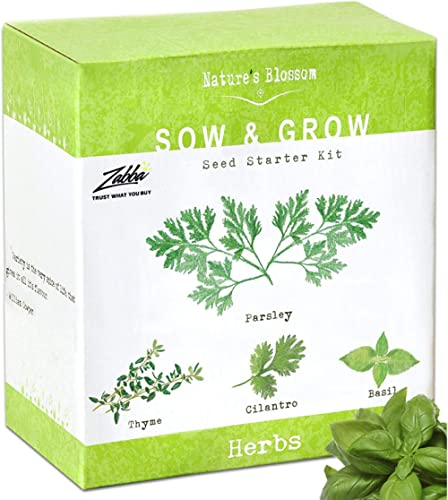 Nature's Blossom Herb Garden Seed Starter Kit. Grow 4 kitchen Herbs from Seeds - Basil, Cilantro, Parsley, Thyme.