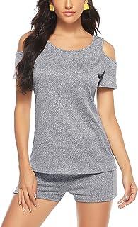 Aibrou Mujer Conjunto de ropa deportiva Secado rápido Top y pantalones cortos Chandal 2 piezas ropa de fitness para Gimnas...