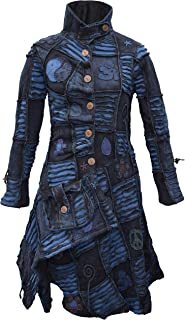 Gheri Womens Asymmetrical Boho Overcoat Turquoise Blue