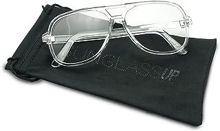 Full Transparent 80's/90's Flat Top Clear Lens Square Hip Hop DJ Aviator Glasses Vintage Inspired