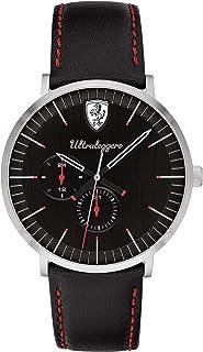 Ferrari Men's 'Ultraleggero' Quartz Stainless Steel and Leather Watch, Color:Black (Model: 0830565)