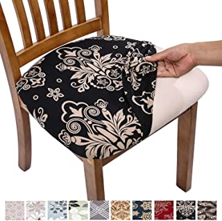 Comqualife Stretch Printed Dining Chair Seat Covers, Removable Washable Anti-Dust Upholstered Chair Seat Cover for Dining Room, Kitchen, Office (Set of 6, Black)