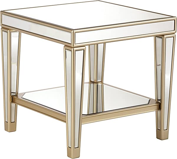 Mirrored Table Silver Mirror W Champagne Accents Glam Style Table End Table