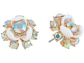 Rose Gold and White Flower Stud Earrings