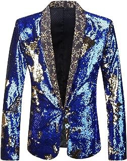 Men Stylish Two Color Conversion Shiny Sequins Blazer Suit Jacket