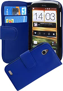 Cadorabo Book Case works with HTC DESIRE X in NAVY BLUE - with Stand Function and Card Slot made of Smooth Faux Leather - ...