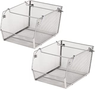 Seville Classics Large Mesh Stacking Storage Bin (2-Pack), Platinum