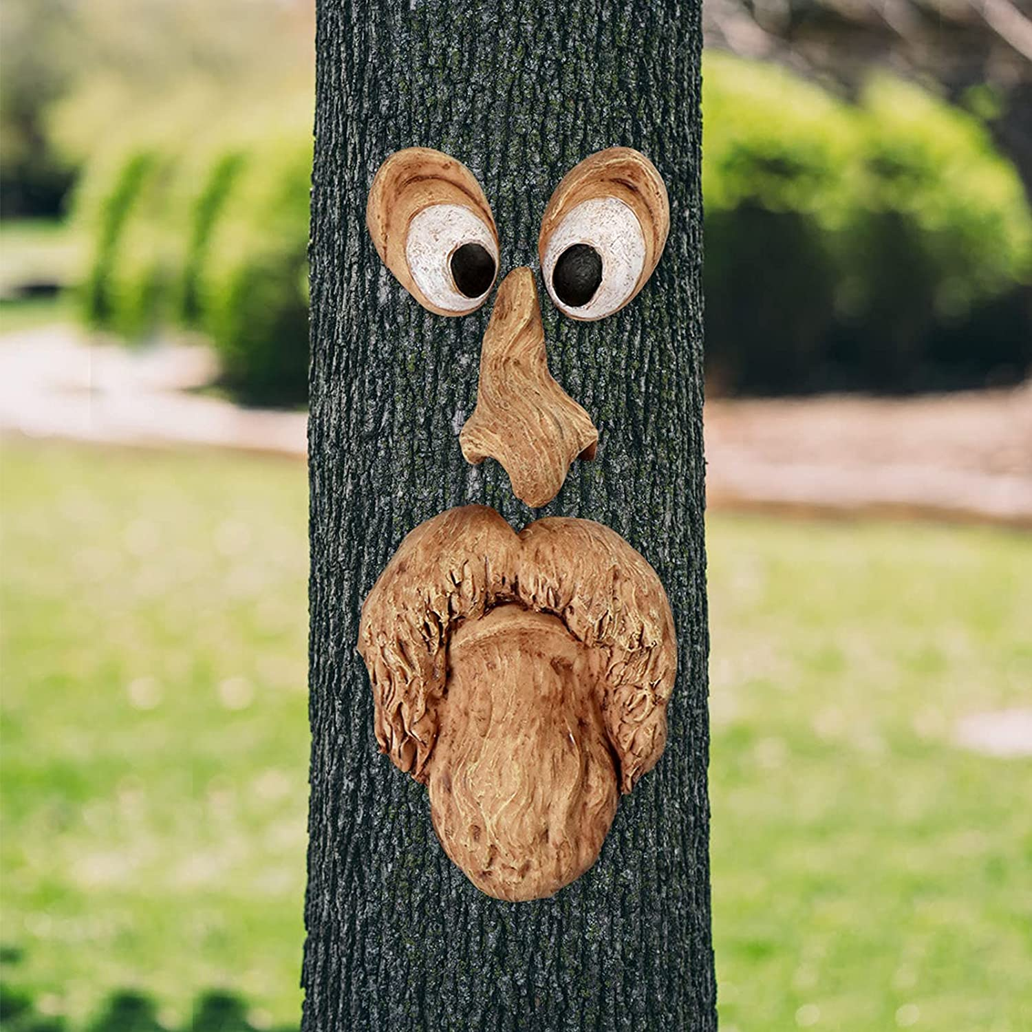 MINICAR Large Resin Tree Faces Decor Outdoor, Funny Old Man Tree Face Art Decorations Outside Garden Patio Whimsical Tree Hugger Sculpture Statues Creative Props(Style A)