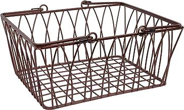 Spectrum Diversified Twist Storage Handles, Modern Farmhouse Décor Farmer's Market-Style Wire Basket for Organizing Bathro...