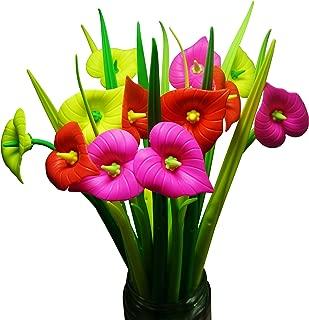 BUOP 24-Count [12+12] Bouquet of Zantedeschia Aethiopica Assorted Color Flower Pen, Novelty Design Flower Arrangement Style Extra Fine Gel Pen of Grass and Zantedeschia Aethiopica
