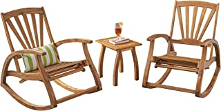Great Deal Furniture Clark Rocker Recliners with Side Table | for Porch and Patio | Acacia Wood | Teak Finish