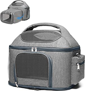 X-cosrack Expandable Pet Travel Bag, 3 Open Doors, Mesh Window and Escape-Proof Buckle, Airline Approved Soft-Sided Pet Tr...