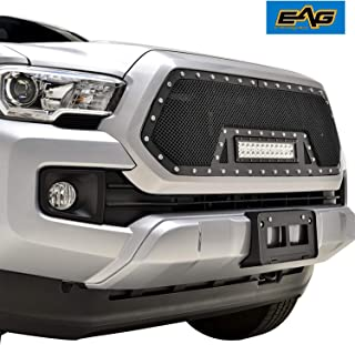 EAG Rivet Black Stainless Steel Wire Mesh Grille With LED Light Fit for 16-18 Toyota Tacoma