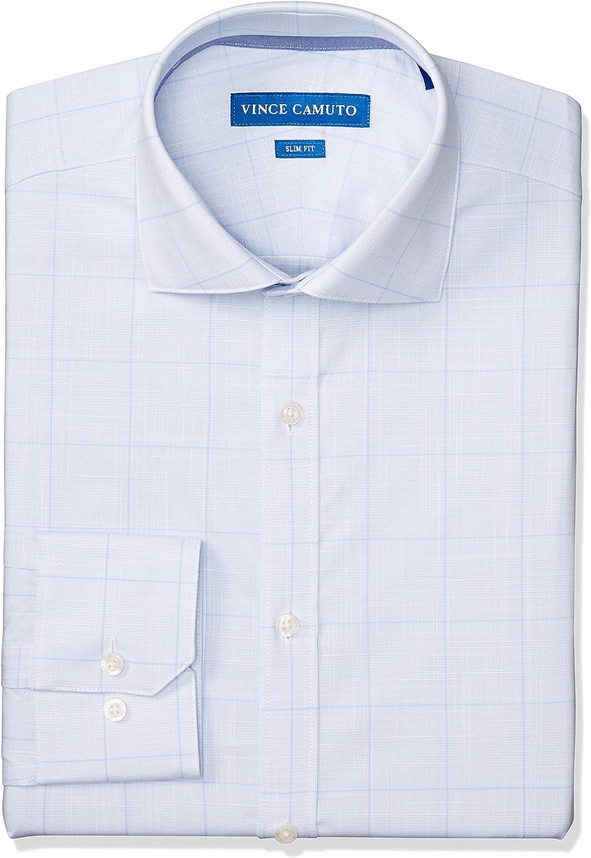 Vince Camuto Men's Slim Fit Performance Light Blue Plaid Dress Shirt