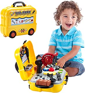 QUQUMA Durable Kids Toys Tool Set with Electronic Cordless Drill and 18 Pretend Play Construction Accessories, with a Sturdy Case