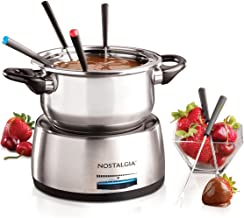 Nostalgia FPS200 6-Cup Stainless Steel Electric Fondue Pot with Temperature Control, 6 Color-Coded Forks and Removable Pot...