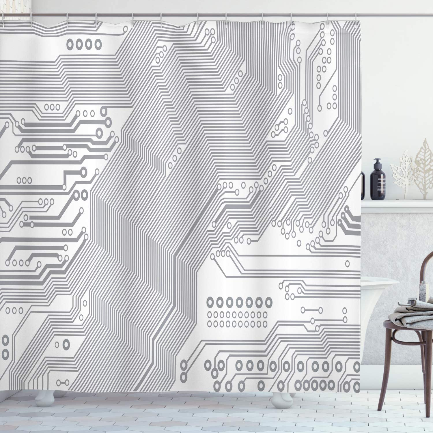mart Ambesonne Selling Digital Shower Curtain Computer Electroni Motherboard