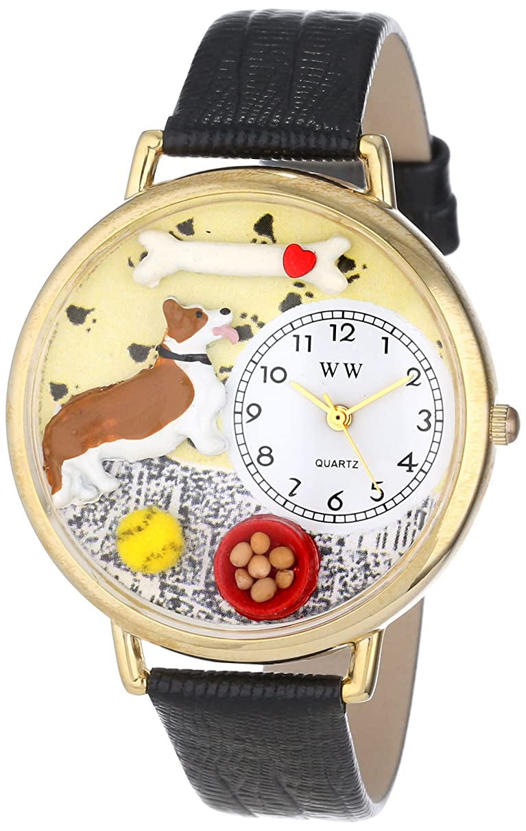 Whimsical Watches Unisex G0130029 Corgi Black Skin Leather Watch