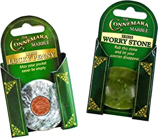 (Set of TWO) Irish Connemara Marble Worry Stone AND Lucky Penny