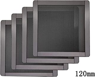 120mm PC Computer Case Fan Magnetic Frame Dust Filter Screen Dustproof Case Cover, Ultra Fine PVC Mesh, Black Color - 4 Pack