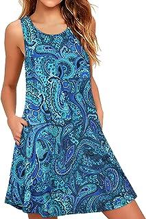 Enmain Damen Sommer Ärmellos Kleid Blumen Freizeitkleider Knielang Rundhal für Damen Plus Größe Elegant Strand Kleider mit...