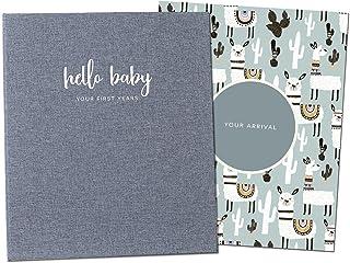 Peachly Minimalist Baby Memory Book | Baby First Year Keepsake for Milestones | Baby Books First Year Memory Book | Simple Baby Scrapbook for Boy or Girl Milestones | 60 páginas Grey Linen Scandi