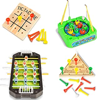 Gamie Travel Road Trip Games for Kids and Adults - 4 Pieces - Set Includes Mini Tic-Tac-Toe, Triangle Game, Soccer Table, and Fishing Game - Fun Car, Airplane Traveling Games Kit