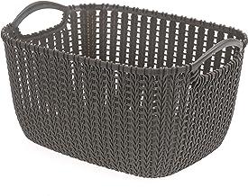 HOUZE Braided Storage Basket with Handle, Brown, Medium