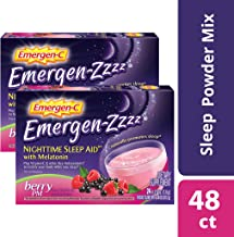 Emergen-Zzzz Nighttime Sleep Aid, With Melatonin And Vitamin C 500mg (48 Count, Berry PM Flavor) Dietary Supplement, 0.27 Ounce Powder Packets
