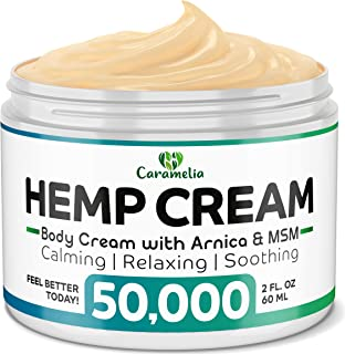 Hemp Extract Cream - 50,000Mg - Made in USA - Natural Hemp Pain Relief Cream for Inflammation, Muscle, Joint, Back, Knee & Arthritis Pain - Hemp Salve Contains Arnica, MSM & 10% EMU Oil - Non-GMO