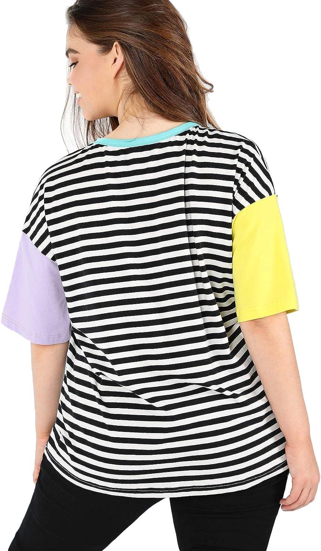 Romwe Women Crewneck Striped Short Sleeve T-Shirt Top Blouse