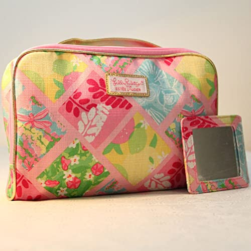 897845da41 1 New Lilly Pulitzer Cosmetic Bag in Lilly Patch + Matching Mirror Estee  Lauder