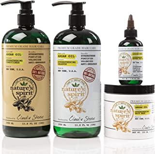Nature's Spirit Argan Oil Shampoo 33 ounce, Conditioner 33 ounce, Hair Mask 8 ounce and Hair Oil 3 ounce (4-Piece Set)