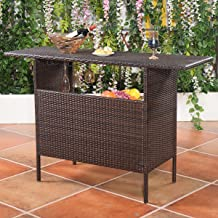 UBRTools Outdoor Rattan Wicker Bar Counter Table Shelves Garden Patio Furniture Brown NEW