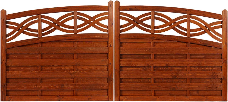 Andrewex wooden gate, garden fence,Decorative Fencing 120 130 x 300cm, varnished, teak