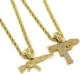 Mens 14k Gold Plated Uzi / AK47 Bundle Set Pendant Hip Hop 24