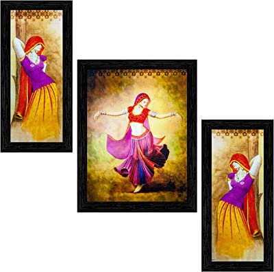 Indianara Set of 3 Dancing Village Women Folk Framed Art Painting (2563BK) without glass 6 X 13, 10.2 X 13, 6 X 13 INCH