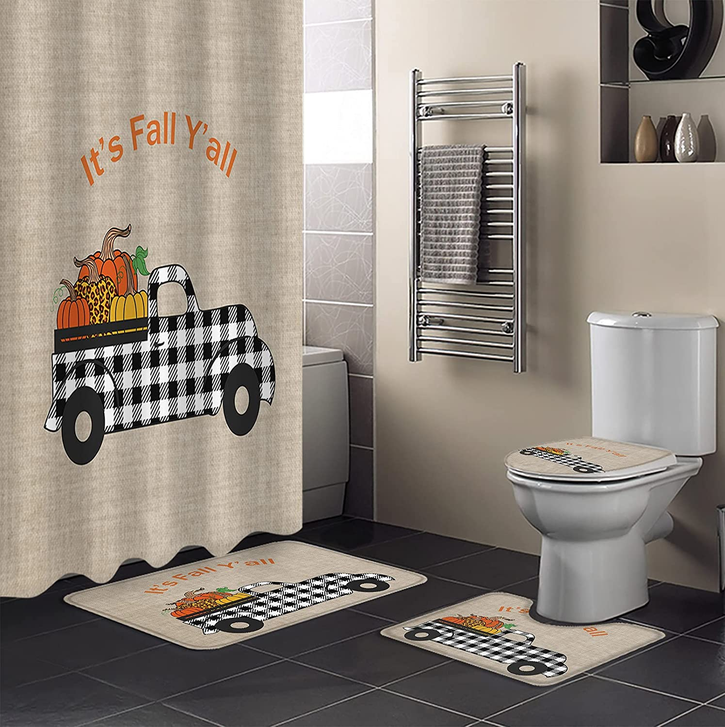 4 Max 83% OFF Piece Shower Curtain Sets It's Baltimore Mall Pump Leopard Fashion Fall Y'all